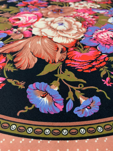 TWO PIECES LEFT: Romantic bright floral in large black circles 80s?