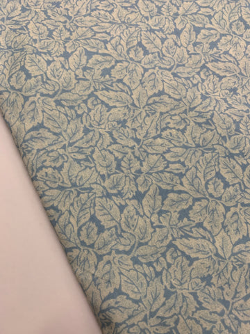 3.5m LEFT: Pale blue leaves on a sky blue light weight cotton vintage 80s?