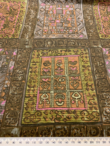 1.5m LEFT: Hippie boho light weight cotton w/ abstract pattern pinks browns
