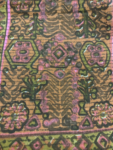 1/2m LEFT: Hippie boho light weight cotton w/ abstract pattern pinks browns