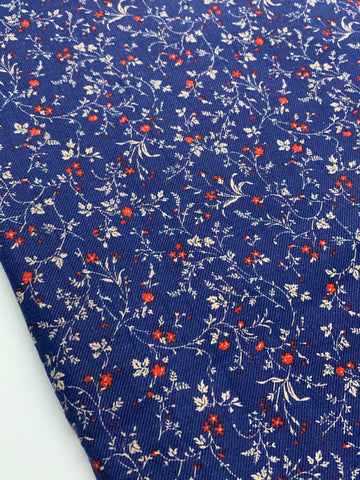 1.5m LEFT: Vintage 1960s 1970s dark blue cotton twill w/ tiny red flower