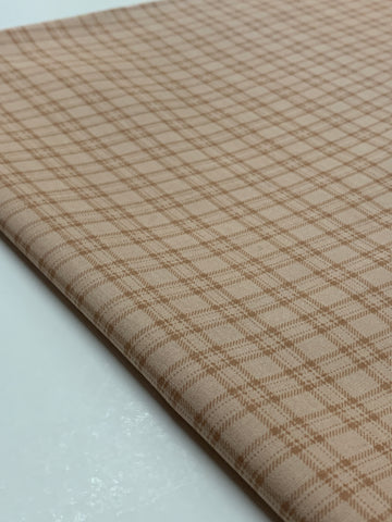 2.5m LEFT: Modern quilt cotton chocolate check on mushroom base