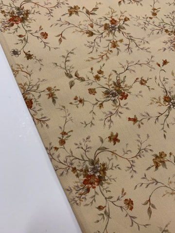 1/2m LEFT: Modern quilting cotton w/ country floral on mushroom