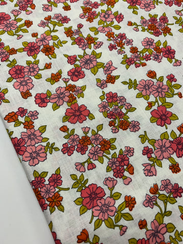 1/2m LEFT: 1960s light weight cotton with bright pink green floral on white
