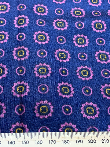 1.5m LEFT: Divine 1970s navy blue pink flower synthetic w/ lovely rustle