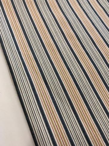 2.5m LEFT: Classic navy caramelred stripe 80s? cotton