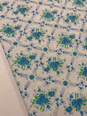 1m LEFT: Vintage 1970s light weight cotton w/ blue and green floral