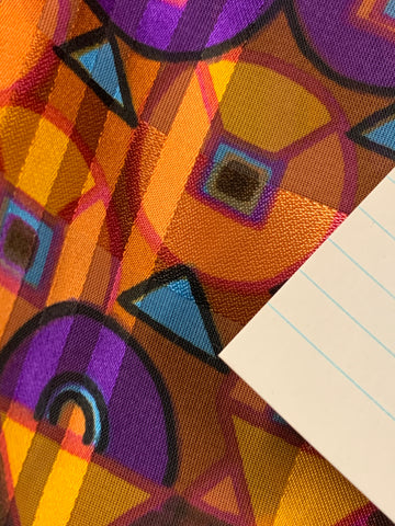 2.5m LEFT: Retro mod 1960s 70s polyester satin stripe abstract pattern on brown