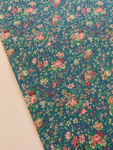 1/2m LEFT: Beautiful country floral on blue cotton 80s?