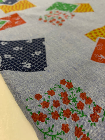 1m LEFT: Vintage? Modern? Chambray cotton with retro patches