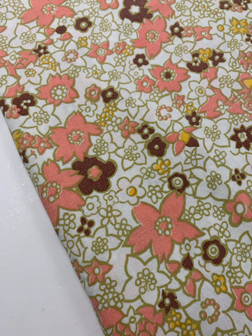 2m LEFT: Vintage 1970s cotton sheeting w/ pink, olive, chocolate floral on white