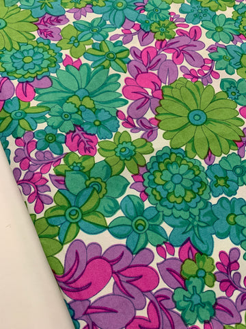 1.5m LEFT: Vintage 1970s bright floral greens pinks purples synthetic