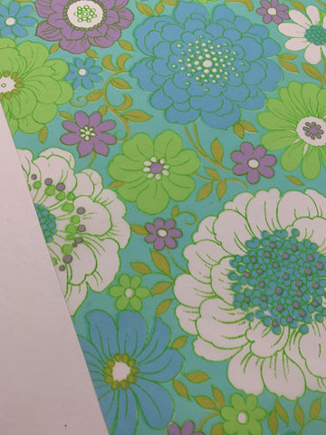 10m LEFT: Vintage 1970s light weight nylon w/ bright retro print