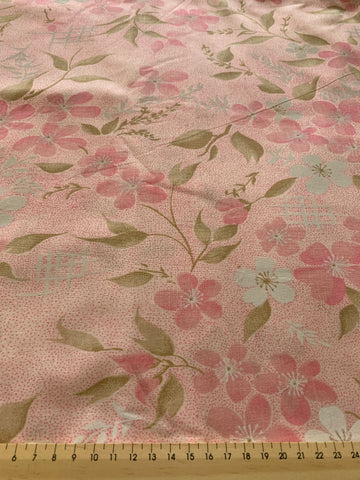 2.5m LEFT: Pretty mottled pink spot and floral cotton sheeting 80s?