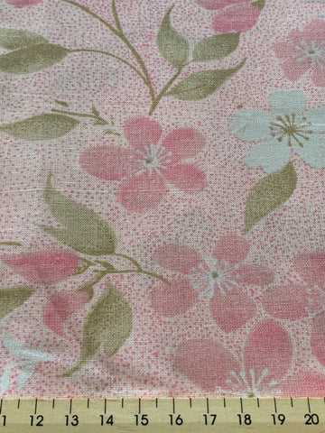 LESS THAN 2m LEFT: Pretty mottled pink spot and floral cotton sheeting 80?
