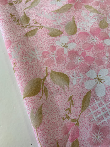 TWO LEFT: Pretty mottled pink spot and floral cotton pillowcase 80s? 72cm x 44cm