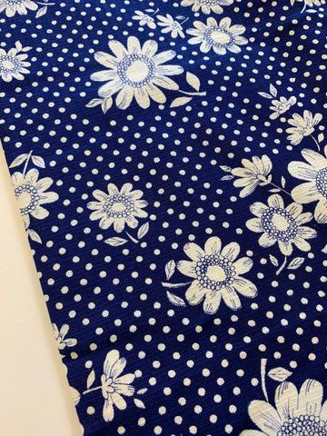 2m LEFT: Linen look 1960s cotton with mod floral & spots on navy blue