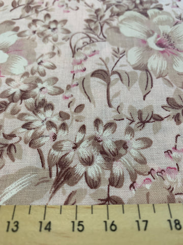 2m LEFT: Vintage 1980s unused cotton sheeting with misty rose taupe floral