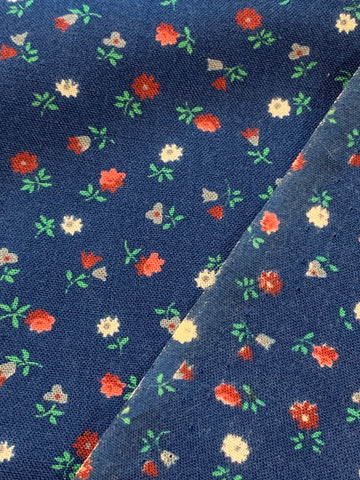 2m LEFT: Vintage 1980s navy blue light weight cotton w/ tiny floral