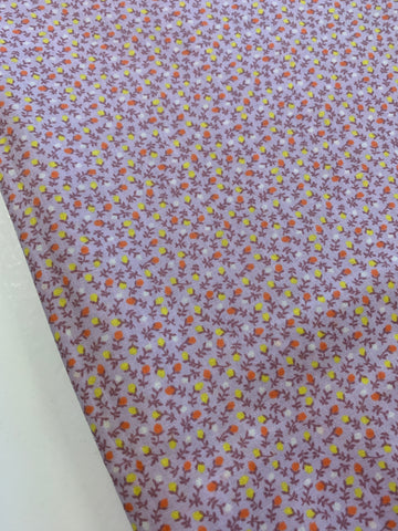 LESS THAN 2.5m LEFT: Vintage 1980s cotton w/ pale violet base and teeny tiny orange yellow white buds