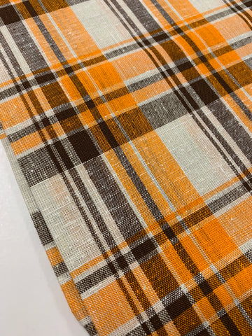 2.5m LEFT: Vintage 1970s woven cotton w/ BRIGHT orange dark chocolate check