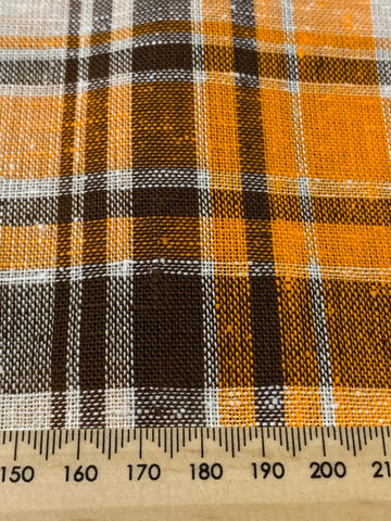LESS THAN 1.5m LEFT: Vintage 1970s woven cotton w/ BRIGHT orange dark chocolate check