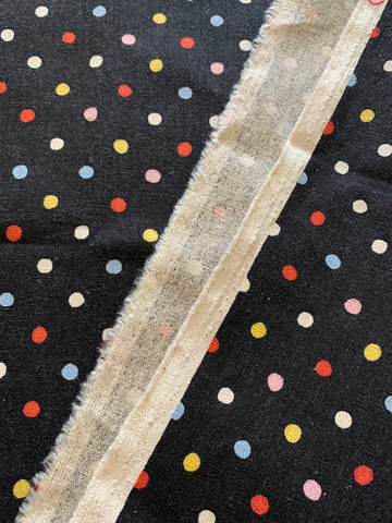 1/2m LEFT: Modern Sevenberry multi-coloured spot on black cotton linen blend