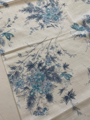 1m LEFT: Vintage 1970s fancy weave cotton with blue butterflies in flowers