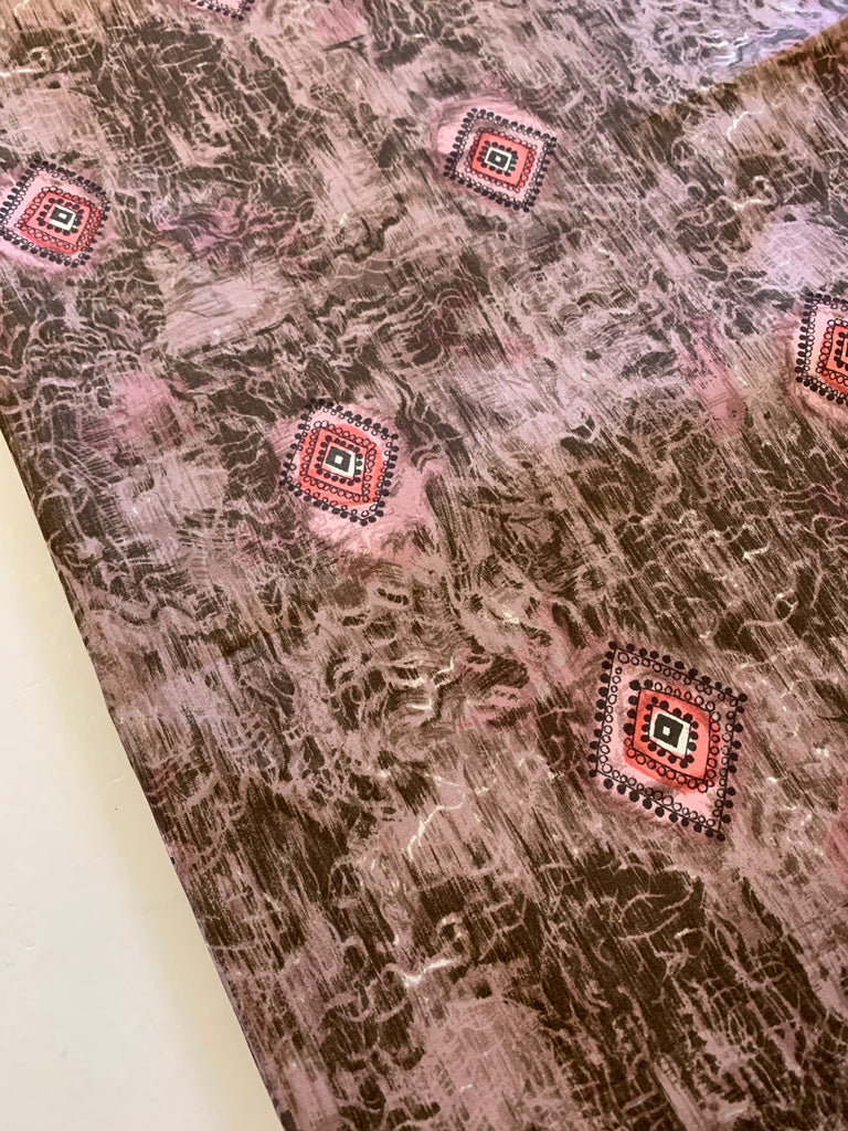 2.5m LEFT: Beautiful 1960s light weight silk w/ pink and mushroom colourway