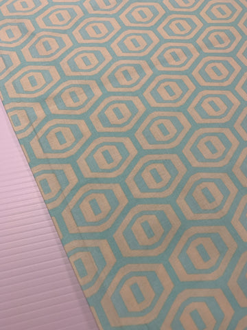 LAST PIECE: Amy Butler Midwest Modern quilt cotton hexagon lime and aqua