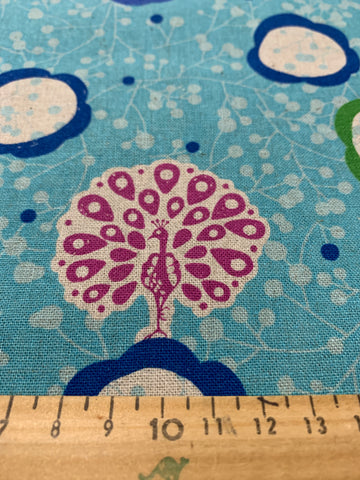 1m LEFT: Echino Etsuko Furuya for Kokka Peacock in blue cotton linen