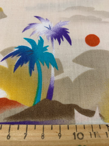 1m LEFT: Vintage 1970s 80s light weight dress fabric w/ oasis palm trees