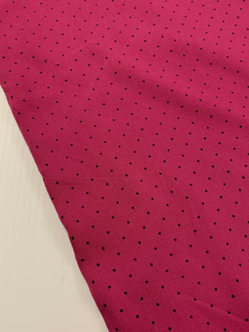 1.5m LEFT: magenta cotton with tiny black dot 1980s? dress cotton