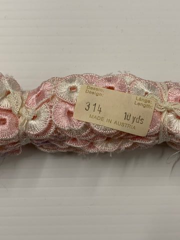 8m LEFT: magnificent vintage 1950s Austrian cotton trim pink white circles