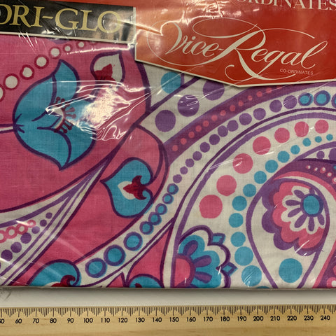 ONE PACKET ONLY: Vintage 1960s Dri-Glo retro mod cotton pillow case x 2