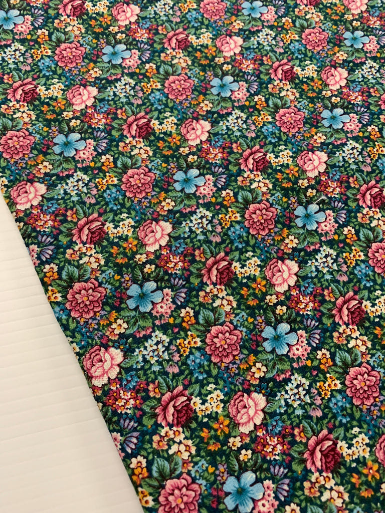 LESS THAN 1m LEFT: 1990s Fabric Traditions quilt cotton with bright floral on green foliage