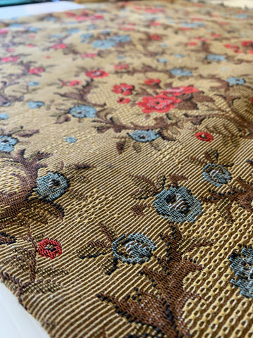 1m LEFT: Beautiful thick blue red floral upholstery fabric 60s?