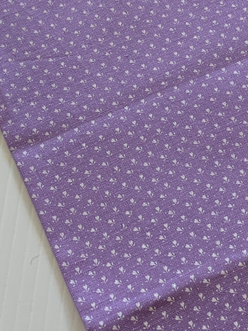 LAST PIECE: Modern quilt cotton with orchid purple base and teeny tiny white flowers