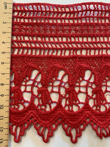 ONE PIECE ONLY: tomato red ornate cotton trim 13.5cm wide x 118cm long