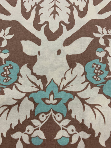 1/2m LEFT: Birch Farm Joel Dewberry quilt cotton Antler Damask in burlap