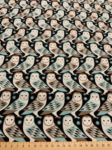 1/2m LEFT: Birch Farm Joel Dewberry quilt cotton Barn Owl in duck egg blue