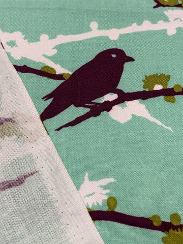 LAST PIECE: Aviary 2 Joel Dewberry quilt cotton Sparrows in plum