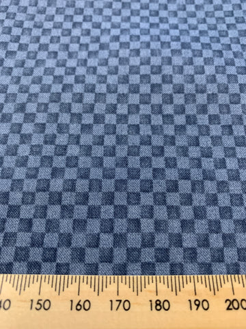 LAST ONE: Vintage 1980s quilt cotton Debbie Mumm for SSI tiny grid blue on blue