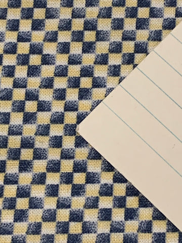LAST ONE: Vintage 1980s quilt cotton Debbie Mumm for SSI tiny grid blue yellow