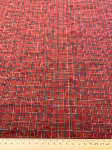 LAST ONE: Modern 2000s quilt cotton dark mottled red base w/ green lines