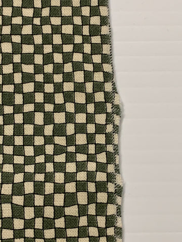 LAST ONE: Vintage 80s 90s quilt cotton with green and beige check