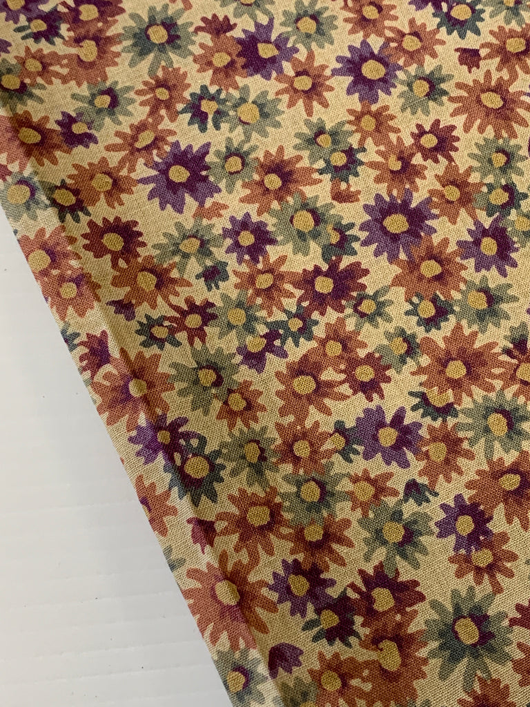 1m LEFT: Vintage? 80s? Concord quilt cotton with dark floral on tea stain base