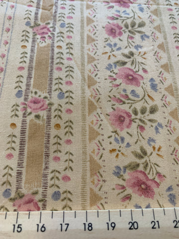 1m LEFT: Pale coffee tan dusky pink floral and stripe light weight cotton.