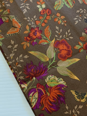 1m LEFT: Striking bright floral with butterflies on brown base quilt cotton