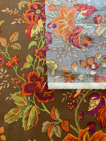 1/2m LEFT: Striking bright floral with butterflies on brown base quilt cotton